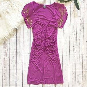 FREE PEOPLE beaded ruched dress small